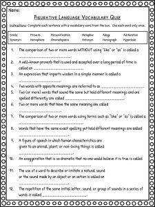 Figurative Language Worksheets   Definition & Examples