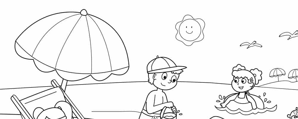 Summer Beach Coloring Pages Free Printable Worksheet