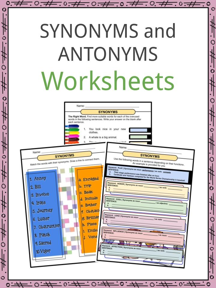 Synonyms And Antonyms Worksheets Pdf Study Guide