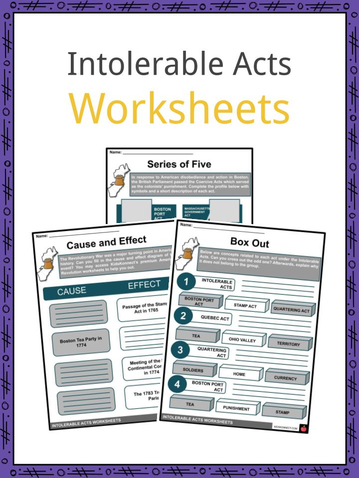 Intolerable Acts Worksheets