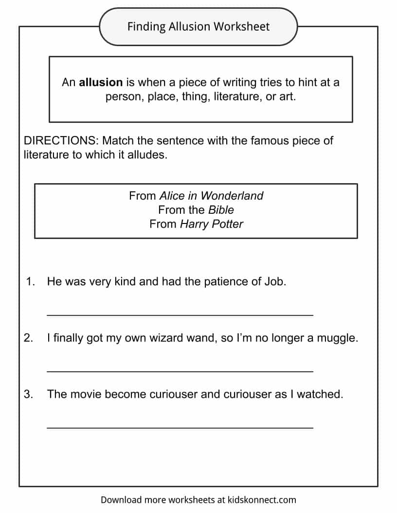 Allusion Examples Definition And Worksheets Kidskonnect