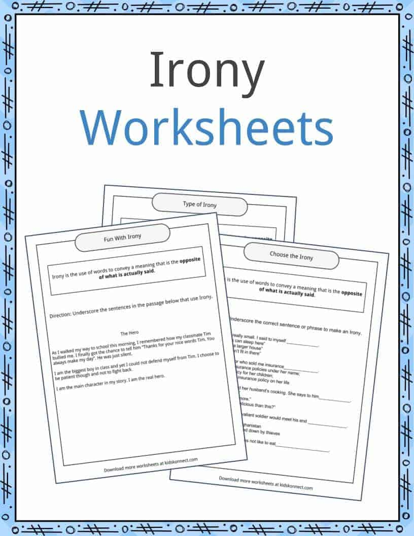 Irony Examples Definition And Worksheets Kidskonnect Read the examples, answer the questions, and share your results! irony examples definition and