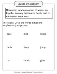 Cacophony Worksheets