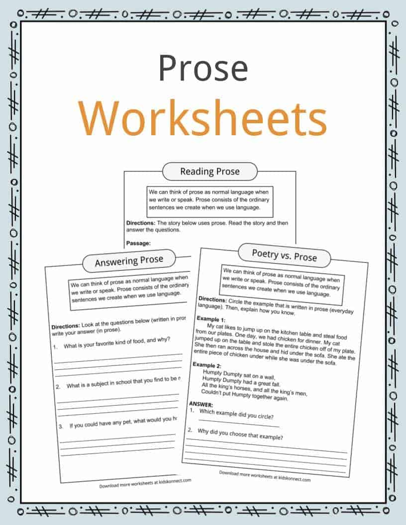 - Prose Reading & Answering Examples, Definition & Worksheets For Kids