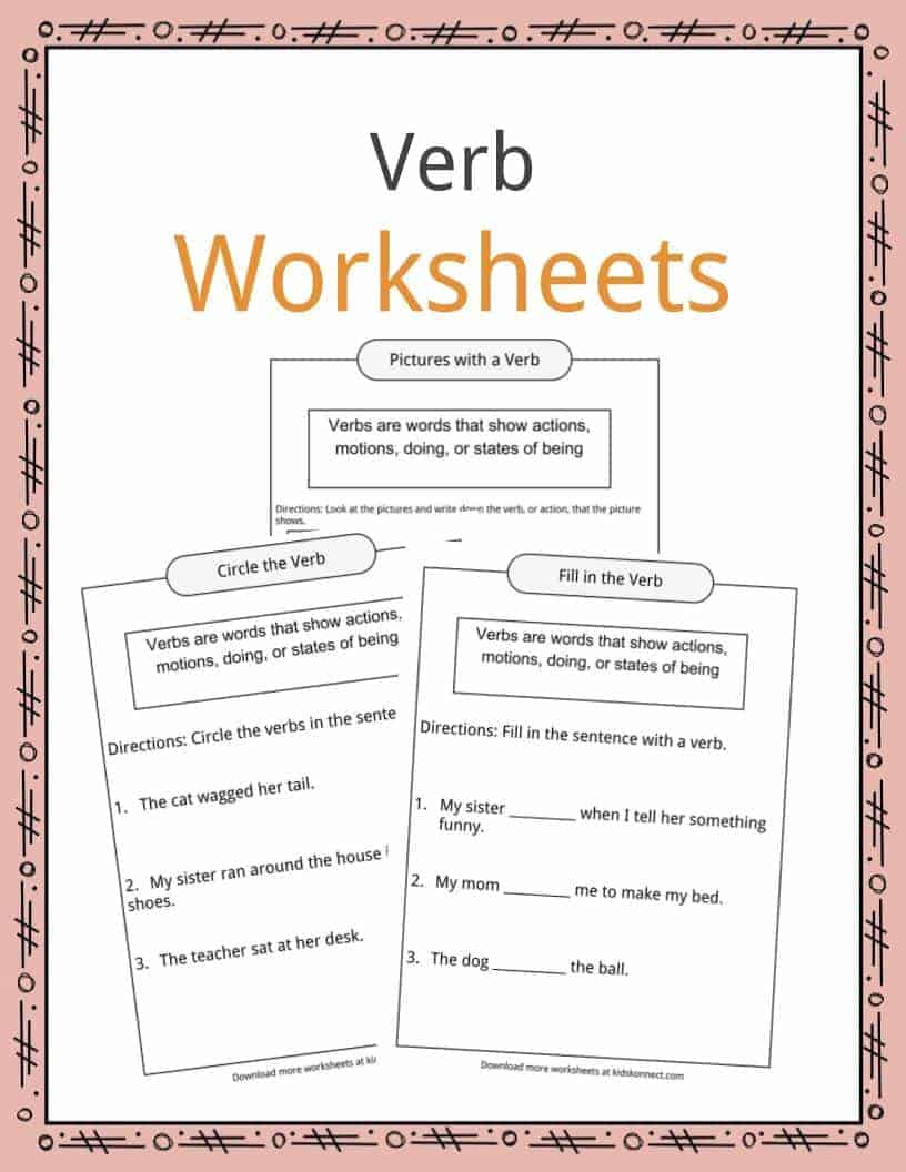 - Verbs Definition, Worksheets & Examples In Text For Kids