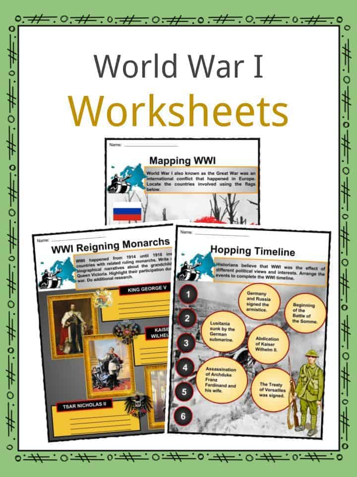 World War I Worksheets