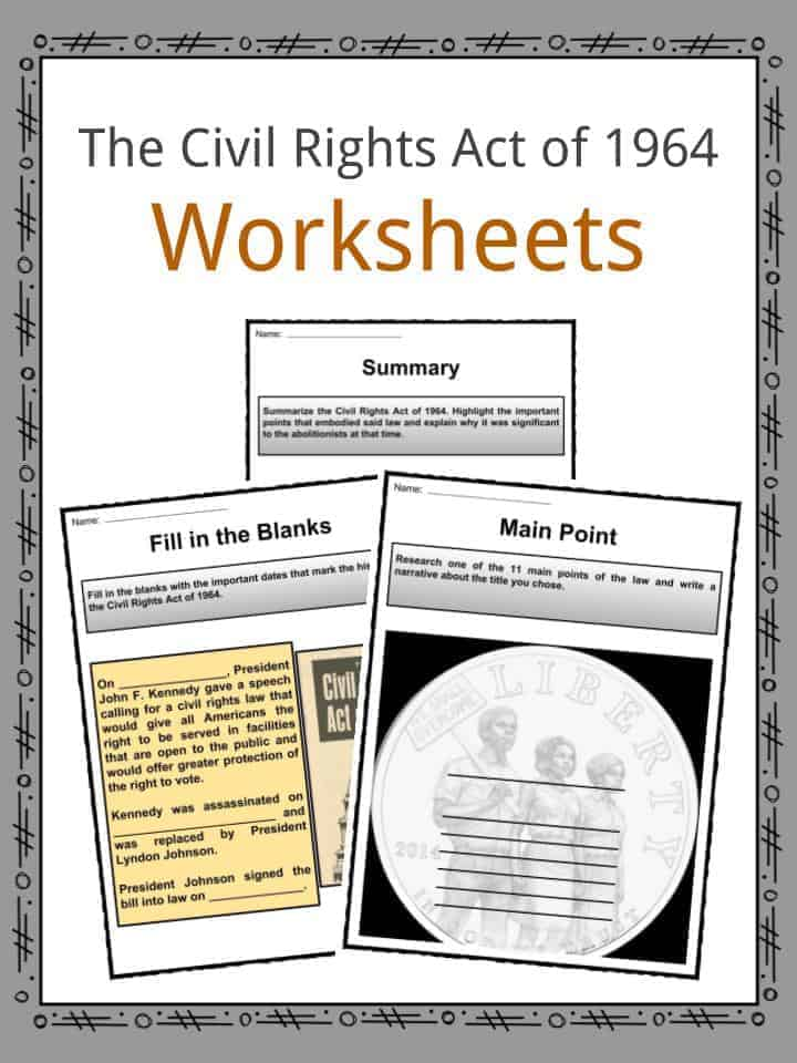 The Civil Rights Act of 1964 Worksheets