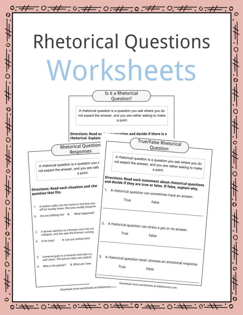 Rhetorical Questions Worksheets