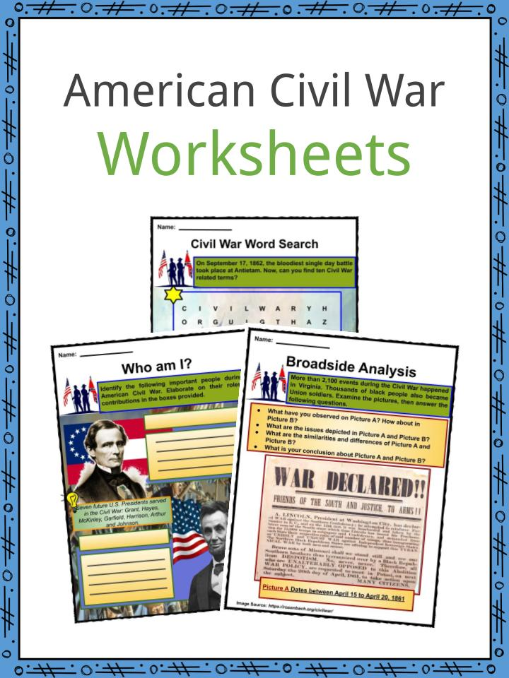 American Civil War Worksheets