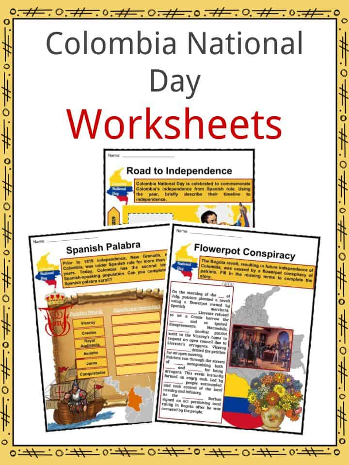 Colombia National Day Worksheets