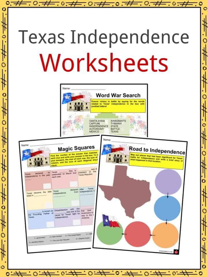 Texas Independence Worksheets