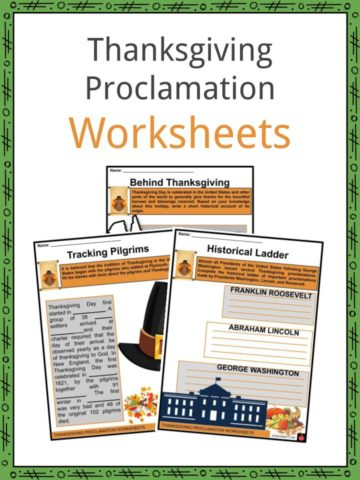 Thanksgiving Proclamation Worksheets