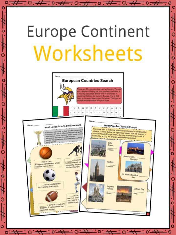 Europe Continent Worksheets