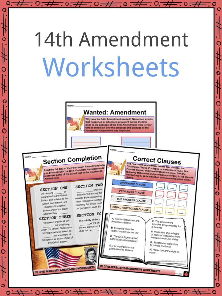 14th Amendment Worksheets