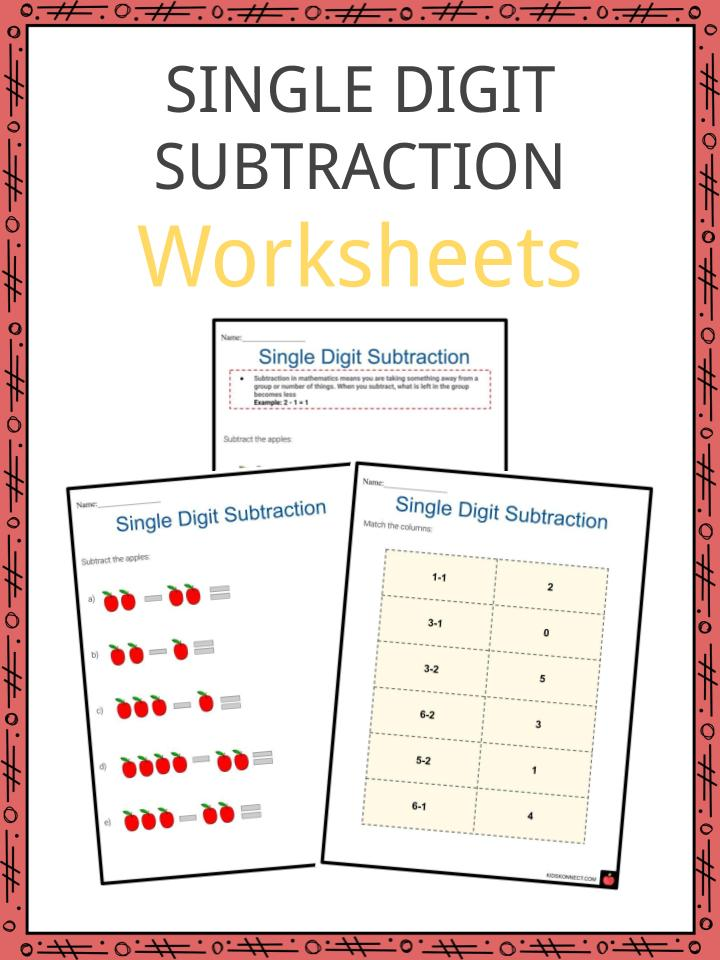 Single Digit Subtraction Worksheets