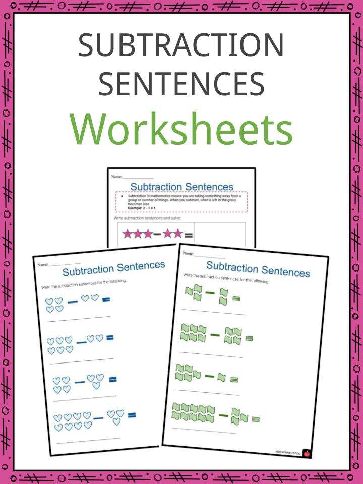 Subtraction sentences Worksheets