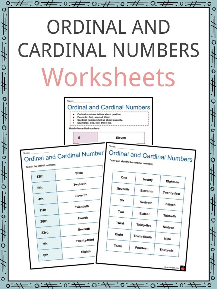Ordinal And Cardinal Numbers Worksheets Summary Examples