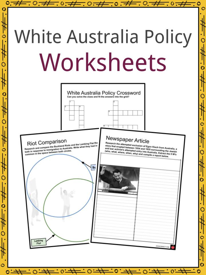 White Australia Policy Worksheets