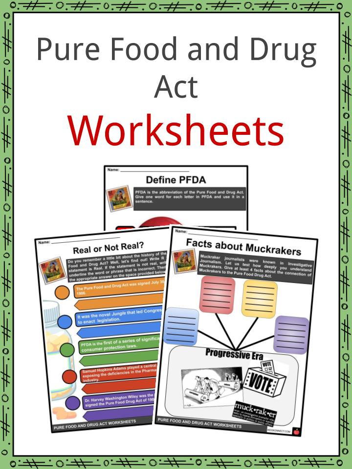 Pure Food and Drug Act Worsheets