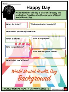 World Mental Health Day Facts Worksheets For Kids