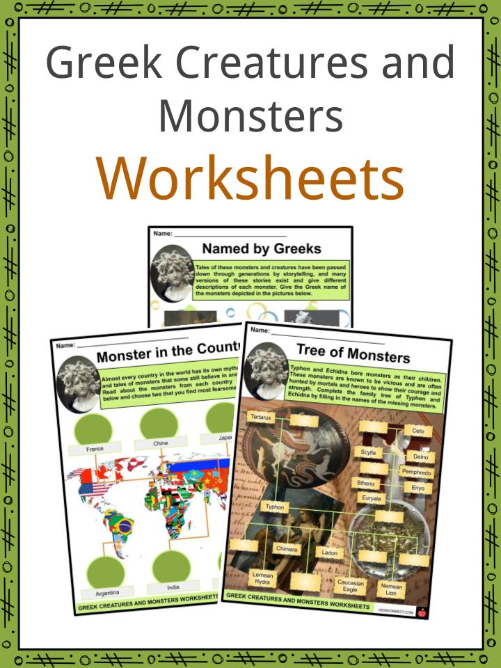 Greek Creatures and Monsters Worksheets