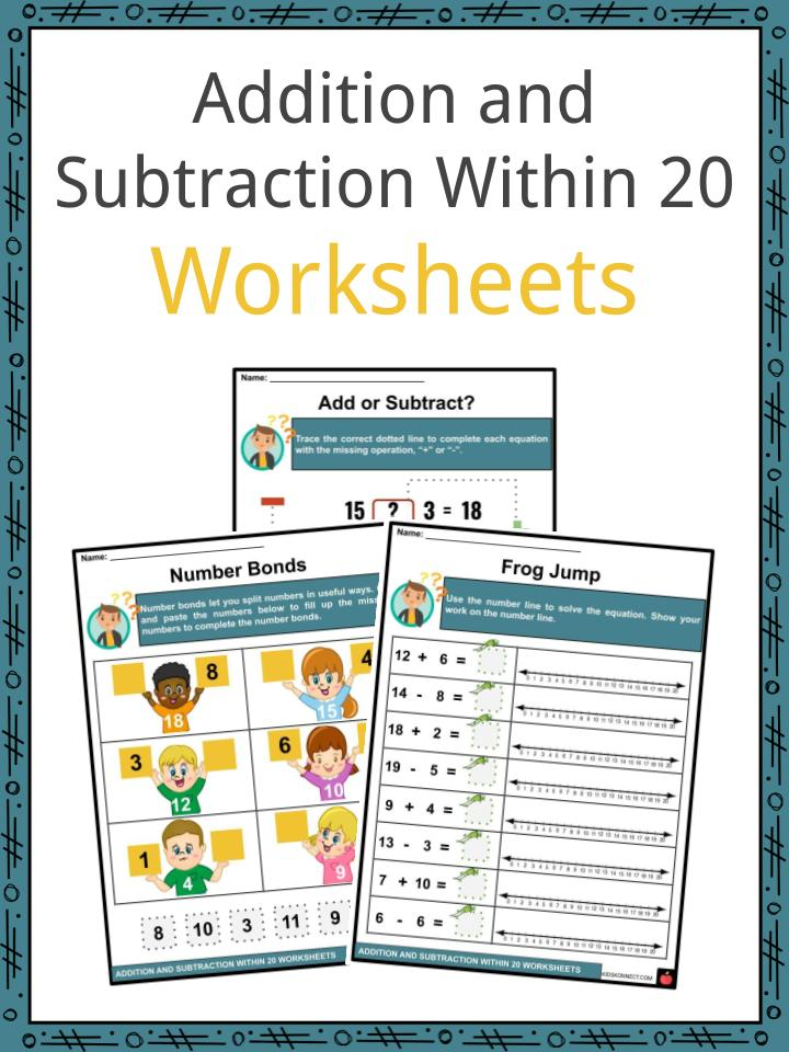 Adding and Subtracting Within 20 Worksheets