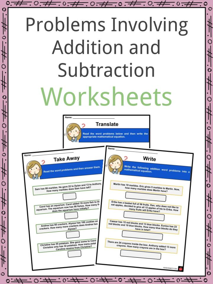 Problems Involving Addition and Subtraction Worksheets