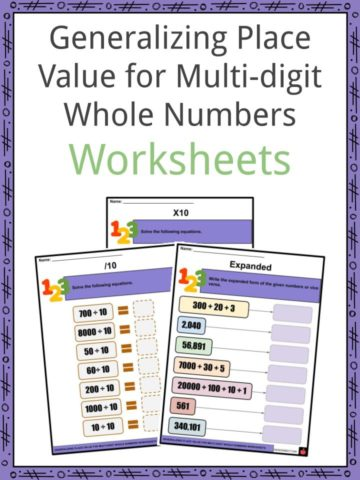 Generalizing Place Value for Multi-digit Whole Numbers Worksheets