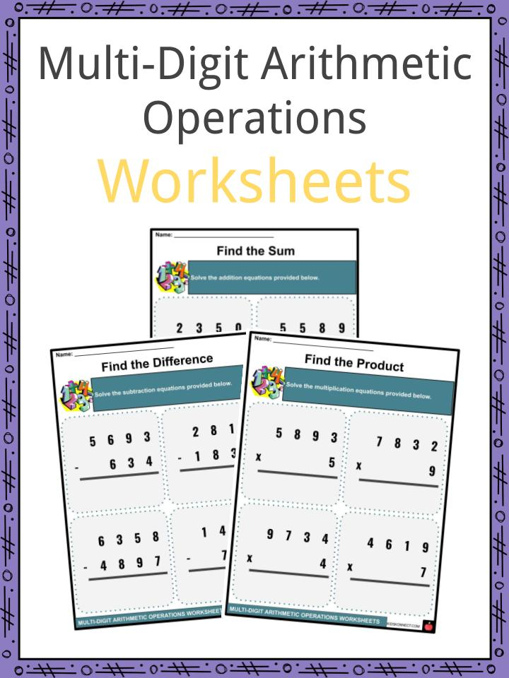 Multi-Digit Arithmetic Operations Worksheets