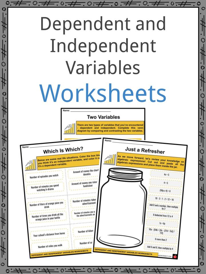 Dependent and Independent Variables Worksheets