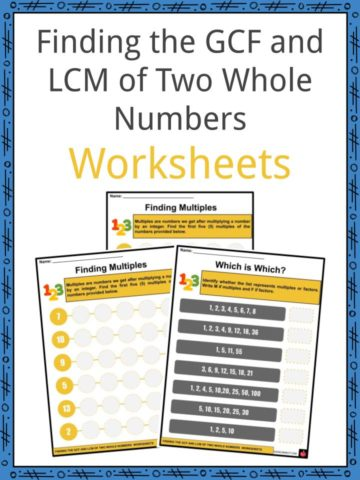 Finding the GCF and LCM of Two Whole Numbers Worksheets