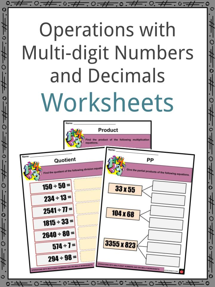 Operations with Multi-digit Numbers and Decimals Worksheets