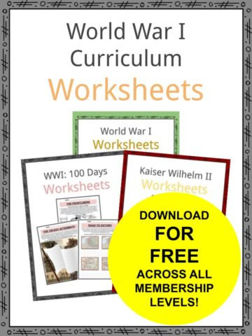World War I Curriculum Worksheets