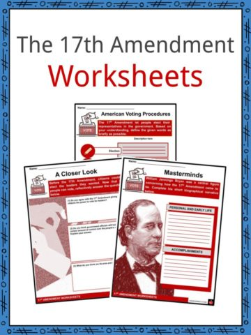 17th Amendment Worksheets