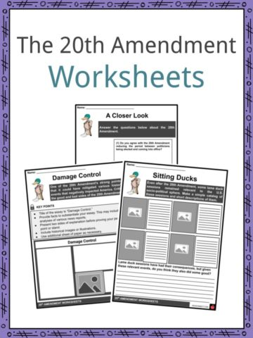 20th Amendment Worksheets