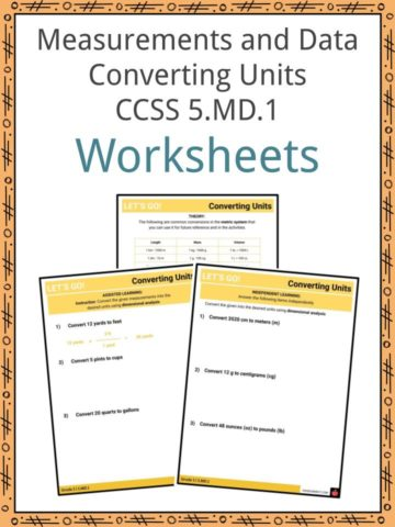 Measurements and Data Converting Units CCSS 5.MD.1 Worksheets
