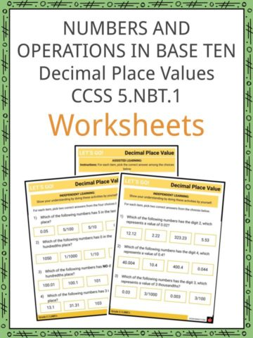 Numbers and Operations in Base 10 Decimal Place Values 5.NBT.1 Worksheets