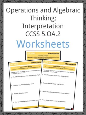 Operations and Algebraic Thinking Interpretation CCSS 5.OA.2 Worksheets