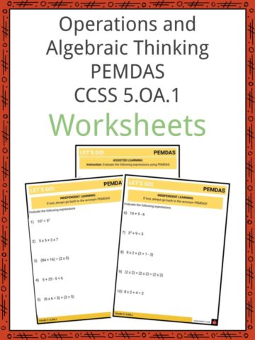 Operations and Algebraic Thinking PEMDAS CCSS 5.OA.1 Worksheets